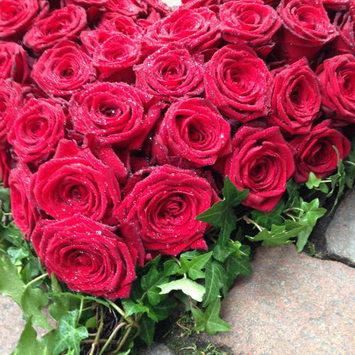 Trauerherz rot Kopf an Kopf Rosen