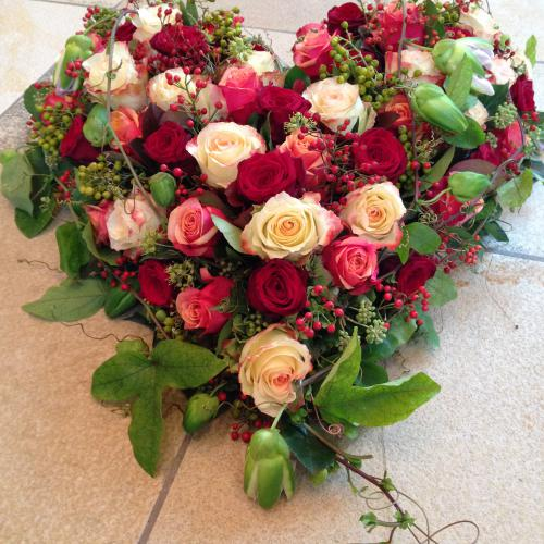 Trauerherz Rosen rosa rot